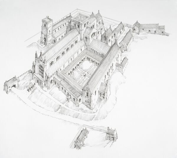ABBOTSBURY ABBEY, Abbotsbury, Dorset. Aerial view reconstruction drawing by Philip Corke of the abbey in the late Middle Ages