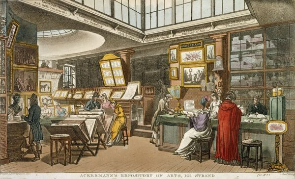 "MAYSON BEETON COLLECTION. Aquatint engraving ""Ackermann's Repository of Arts, 101 Strand"" London 1809 by Pugin & Rowlandson. Interior view"
