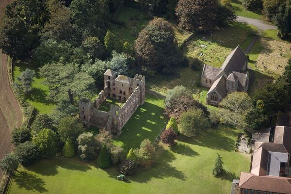 ACTON BURNELL CASTLE, Shropshire. Aerial view