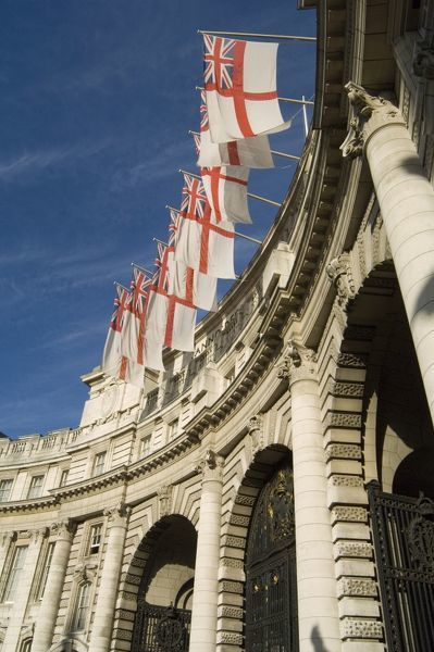 ADMIRALTY ARCH, The Mall, City of Westminster, London. An oblique view showing the arch with White Ensign flags