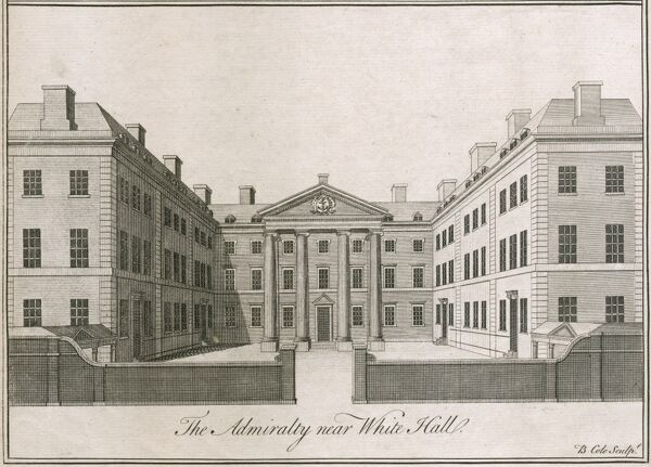 The Admiralty building near Whitehall, Westminster, London. Admiralty was built by Thomas Ripley 1723-26