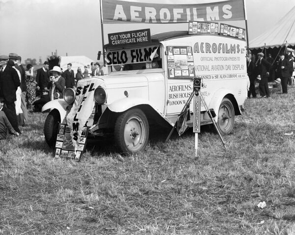 THE AEROFILMS VAN advertising Aerofilms services at a National Aviation Day Display event. National Aviation Day Displays, founded by Sir Alan Cobham, toured in Britain and overseas between 1932 and 1936 promoting the benefits of air travel