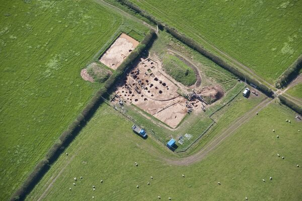 Alavna Roman fort, Maryport, Cumbria. Archaeological excavation in progress near the Roman fort, 2012