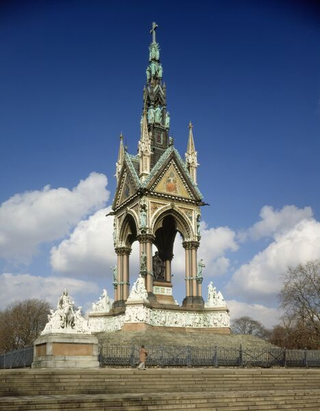THE ALBERT MEMORIAL, City of Westminster, London. View from the South West, pre-restoration