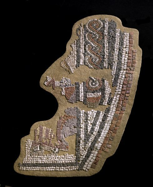 ALDBOROUGH ROMAN TOWN, North Yorkshire. Detail of the Helicon Mosaic