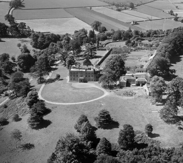 Alderwasley Hall, Derbyshire. The late 18th century main house forms the centrepiece of an independent school founded in 1930. Aerial view by Aeropictorial. Aerofilms Collection. July 1951