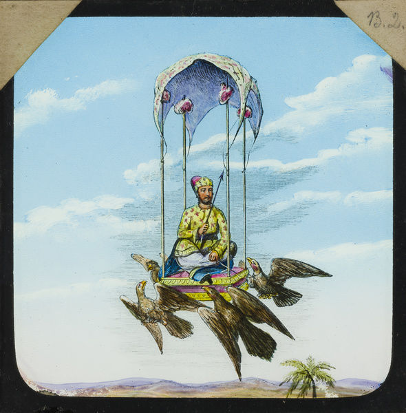 Amazing flying machines. A hand-coloured engraving of the mythological Persian King Kai Kawus, seated on a throne being pulled through the air by four eagles. From the Cecil Victor Shadbolt collection of lantern slides dating from 1882-1892
