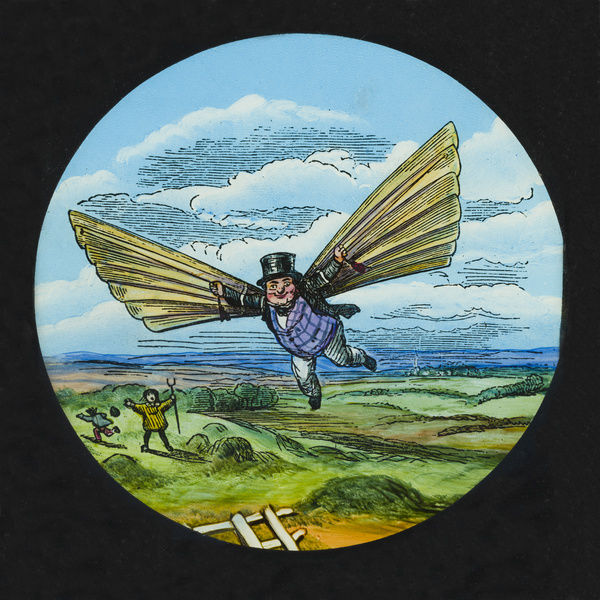 Amazing flying machines. Hand-coloured engraving of a man in a top hat and waistcoat holding a large pair of wings and flying above two alarmed figures, one of whom is holding a pitchfork