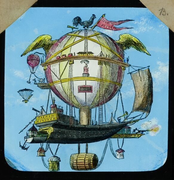 Amazing flying machines. Hand-coloured engraving of the 'Minerva' balloon, designed by Etienne-Gaspard Robert in 1804