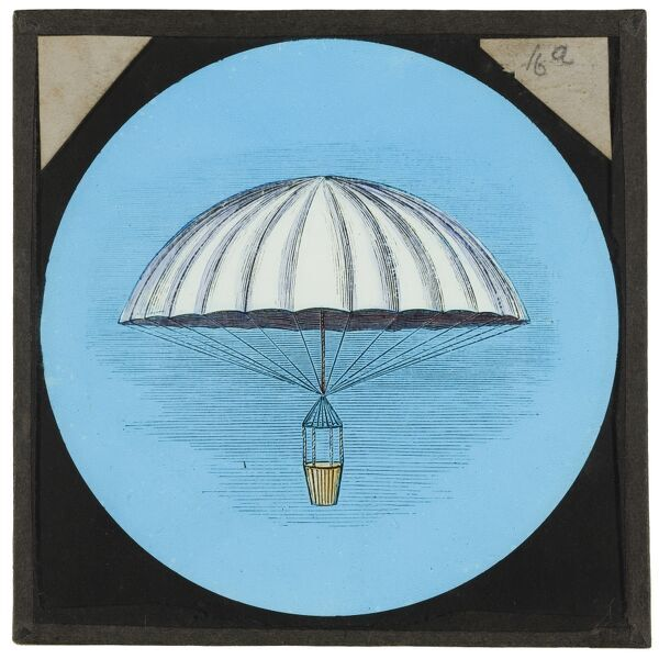 Amazing flying machines. A hand-coloured engraving of an early frameless parachute, designed by Andre-Jacques Garnerin in 1797. From the Cecil Victor Shadbolt collection of lantern slides dating from 1882-1892
