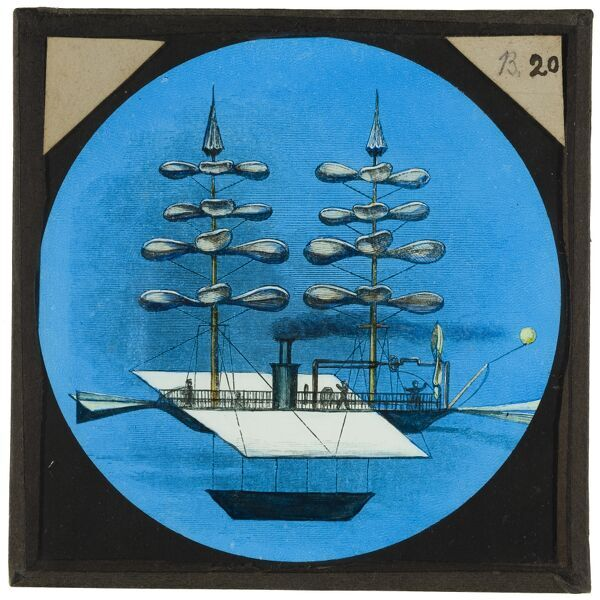 Amazing flying machines. A hand-coloured engraving of a flying machine designed by Gabrielle de la Londelle, which appeared in his book a€˜Aviation, ou Navigation Aeriennea€™ in 1863