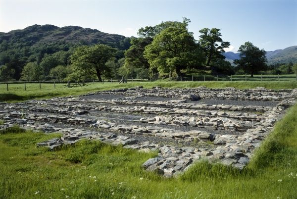 AMBLESIDE ROMAN FORT, Cumbria. View of the site from the South. A 2nd century fort, probably built under Hadrian's rule to guard the Roman road from Brougham to Ravenglass and act as a supply base