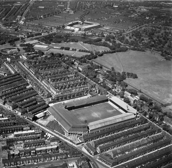 ANFIELD STADIUM, Liverpool. Aerial view of the home of Liverpool Football Club since 1892. Photographed in 1966. Aerofilms Collection (see Links)