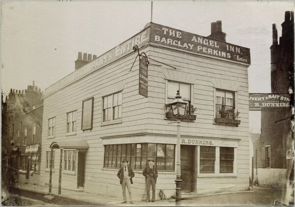 The Angel Inn, Highgate, London. Situated only five miles from Westminster and the City of London, and the meeting place of several roads, the village of Highgate was a convenient stopover place. It had five inns by 1552 and 21 in 1841. The Angel