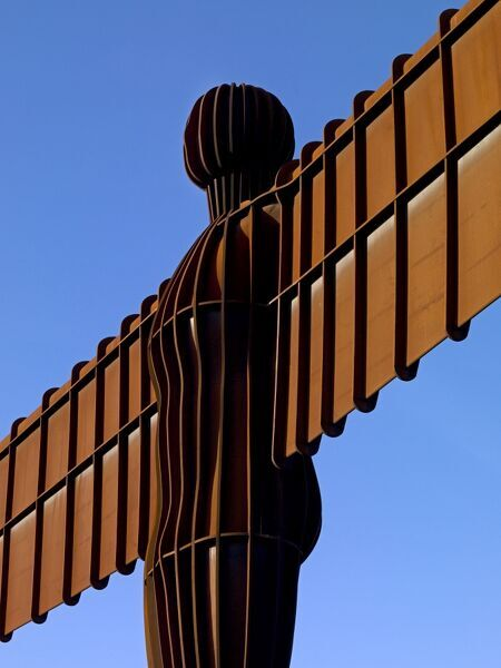 THE ANGEL OF THE NORTH, Gateshead, Tyne and Wear. Detailed view of Antony Gormley's statue