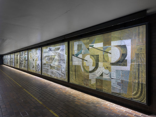 Dorothy Annan Mural, Barbican Estate, City Of London. Formerly installed on The Central Telegraph Office, Farringdon, now reinstalled at the Barbican Estate. General view from east. Photographed by Chris Redgrave in 2015