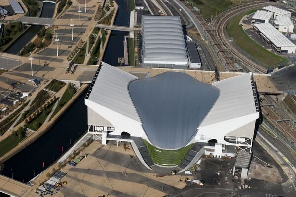 Queen Elizabeth Olympic Park, London. London 2012 Olympic Aquatic Centre and Water Polo Arena. Photographed in September 2012