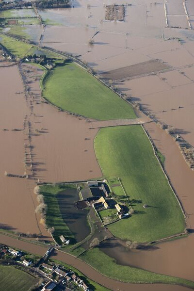 Athelney Hill, Somerset Levels. Aerial view of flooding in January 2014. ST3429/11