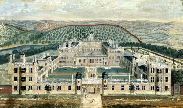 AUDLEY END HOUSE, Saffron Walden, Essex. Gouache painting of the West front by an unknown artist showing the complete Elizabethan plan for the house