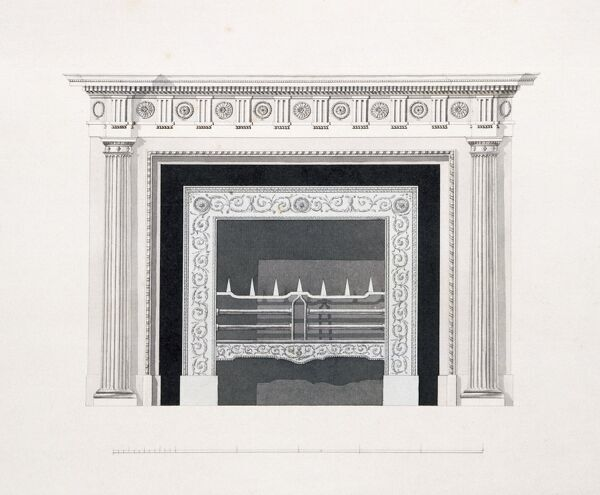 AUDLEY END HOUSE, Saffron Walden, Essex. Scrapbook architectural design detail of the fireplace in the Library drawn by Placido COLUMBANI. Plate number 64