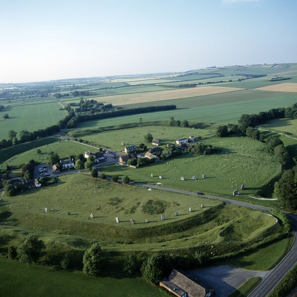 AVEBURY, Wiltshire. Aerial view of the site looking north east