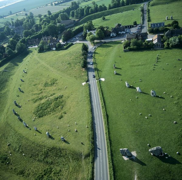 AVEBURY, Wiltshire. Aerial view of the site looking north west