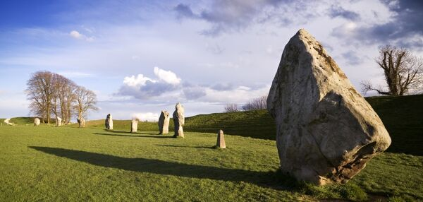 AVEBURY STONE CIRCLE, Wiltshire. View of the sarsens found on the south west side of the circle