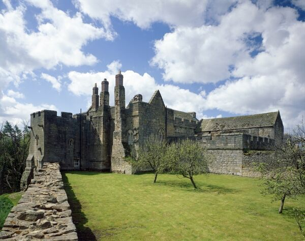 AYDON CASTLE, Northumberland. View of the orchard and the 13th century fortified manor house