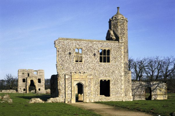 BACONSTHORPE CASTLE, Norfolk. A late medieval and Tudor fortified manor house. View looking North of the Inner and Outer Gatehouses