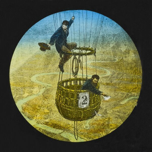 Tales of balloon flight. Hand-coloured engraving of two men in a balloon flying over London