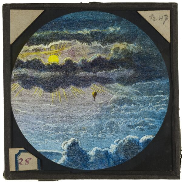 Tales of balloon flight. A hand-coloured engraving of a balloon flying through clouds at sunrise. From the Cecil Victor Shadbolt collection of lantern slides dating from 1882-1892