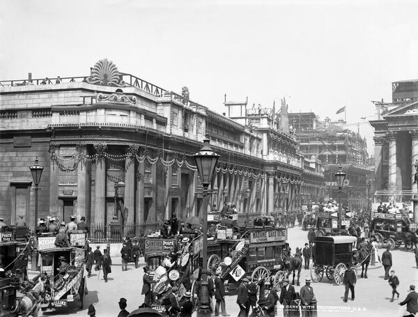 BANK OF ENGLAND, Threadneedle Street, City of London. A view of the Bank of England looking down Threadneedle Street and showing the decorations for Queen Victoria's Diamond Jubilee of 1897. There are a number of horse-drawn buses in the foreground