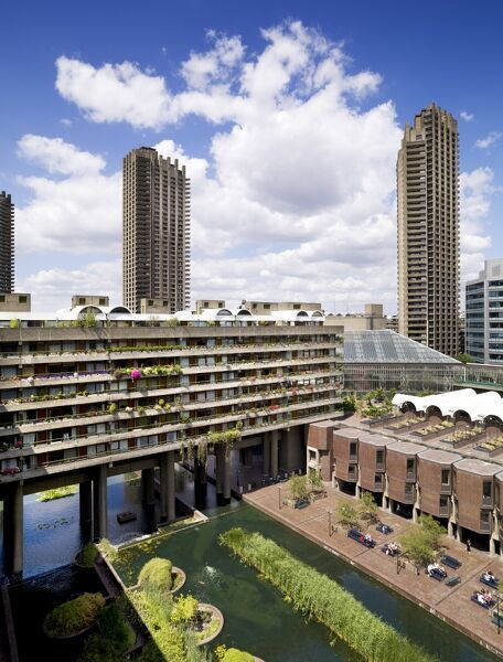 BARBICAN CENTRE, London. View of the brutalist architecture of the Barbican and flats that surround the centre. Listed Grade II (NHLE 1352667)