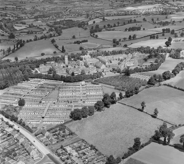 Barnsley Hall Hospital for Nervous and Mental Diseases, Bromsgrove, Worcestershire. Designed by George Thomas Hine and opened in 1907, since closure in 1966 it has now mostly been demolished. Aerial view by Aeropictorial. Aerofilms Collection