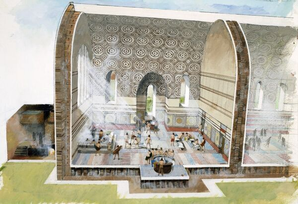 WROXETER ROMAN CITY, Shropshire. Cutaway reconstruction drawing of bath house architecture by Ivan LAPPER