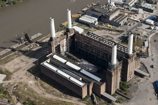 Battersea Power Station, Wandsworth, London. An aerial view showing the exposed interior of the central hall. Photographed in September 2012 before redevelopment began