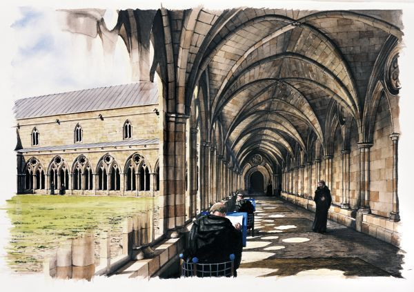 BATTLE ABBEY, East Sussex. Reconstruction drawing of monks in the cloister in the late 13th century by Peter URMSTON