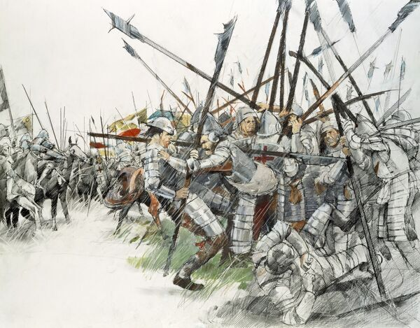 BATTLE OF FLODDEN FIELD, Northumberland. Reconstruction drawing of the Battle of Flodden, 1513 by Ivan LAPPER