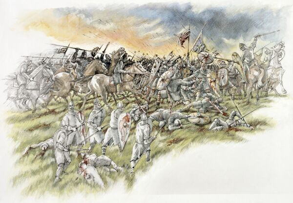 BATTLE ABBEY, East Sussex. Battle of Hastings reconstruction drawing by Peter Dunn showing the Normans charge through to Harold and his personal troops