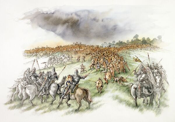 BATTLE ABBEY, East Sussex. Battle of Hastings reconstruction drawing by Peter Dunn. The Normans feigned flight pursued by the English