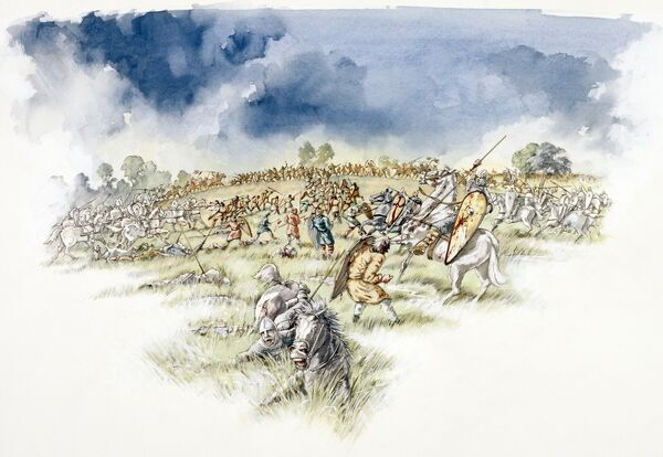 BATTLE ABBEY, East Sussex. Battle of Hastings reconstruction drawing by Peter Dunn. The Normans counter attack English Fyrdmen cut off on hillock