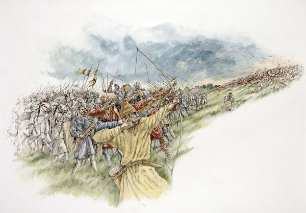 BATTLE ABBEY, East Sussex. Battle of Hastings reconstruction drawing by Peter Dunn. William uses his archers again in last attack on the English