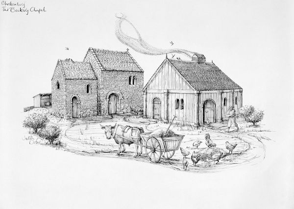 GLASTONBURY, Somerset. The Beckery Chapel. Later Anglo-Saxon. Reconstruction drawing by Judith Dobie (English Heritage Graphics Team). Anglo Saxon