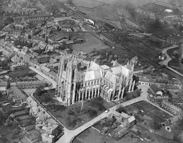 The Minster, Beverley, East Yorkshire. Aerial photograph taken by Aerofilms in May 1925