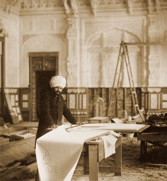 "OSBORNE HOUSE, Isle of Wight. Interior view. Photograph from the album "" Royal Tableaux, Osborne "". "" Ram Singh at Work in the Indian Room "" 1892. Durbar Room"