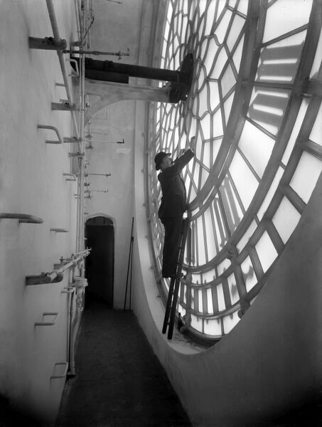 PALACE OF WESTMINSTER, London. Inside the clock tower. Maintenance on Big Ben clock face