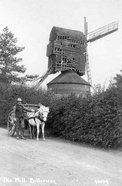 BILLERICAY WINDMILL, Essex. Today Billericay is on the outskirts of Greater London, but at the turn of the century, when this picture was probably taken, the area was still rural