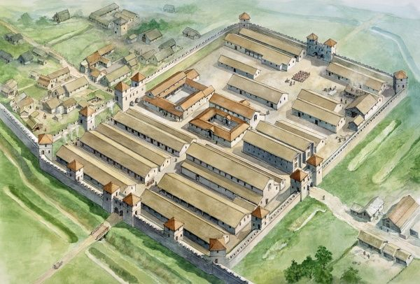 HADRIAN'S WALL: BIRDOSWALD ROMAN FORT, Cumbria. Aerial view reconstruction drawing by Philip Corke of the fort in c.200 AD