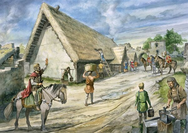 HADRIAN'S WALL: BIRDOSWALD ROMAN FORT, Cumbria. Reconstruction drawing by Philip Corke of the timber building on the site of the North granary. hadrian