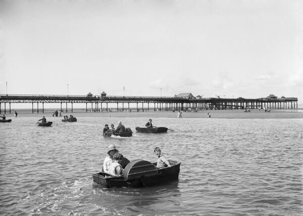 West End Pier, Marine Road West, Morecambe, Lancashire. A view of West End Pier from across the Children's Boating Pool. 1925-1930. Walter Scott
